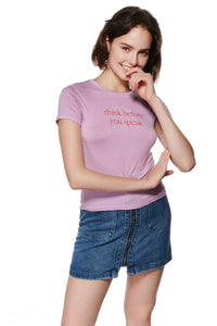 Ladies Knit Short Sleeve Think Speak Tee SH