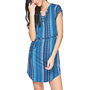 Printed Drawstring Slim Dress