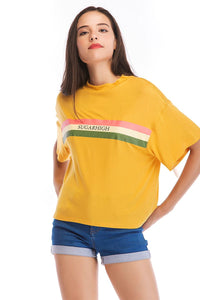 Ladies Knit Colorful Stripe Tee in Yellow