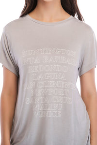 Ladies Knit Short Sleeve Sentence Tee