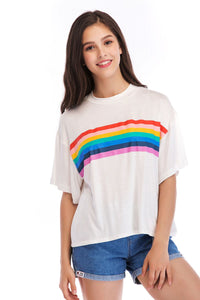 Ladies Knit Short Sleeve Rainbow Tee
