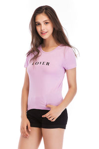 Ladies Knit Short Sleeve Lover Tee