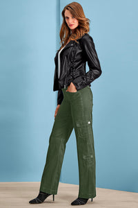 Stretch Cargo Pants in Olive - Petite