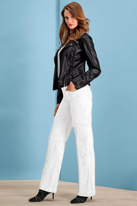 Stretch Cargo Pants in White - Petite