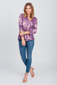 Paisley Print Roll Sleeve Shirt Berry