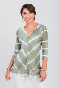 Printed Tie-Dye Notch Neck Top Olive