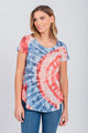 Americana Printed Tie-Dye Tee Heather Grey