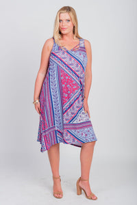 Plus Size Americana Print Sleeveless Midi Dress Navy/Ski Patrol
