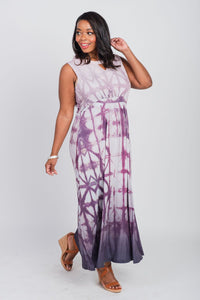 Plus Size Batik Print Sleeveless Maxi Neutral
