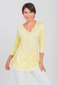 Printed Tie-Dye Notch Neck Top Yellow
