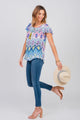 Medallion Print Notch Neck Peasant Top Poolside