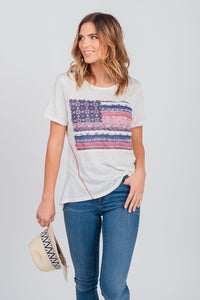 Americana Flag Graphic Print Tee