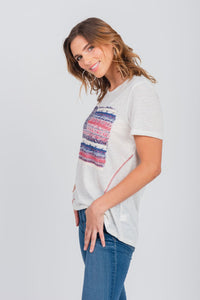 Plus Size Americana Flag Applique Scoop Neck Tee Beige