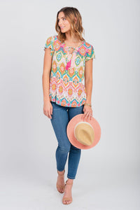 Palm Print Notch Neck Peasant Top Palm Springs