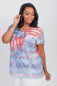 Plus Size Americana Print Scoop Neck Tee Blue