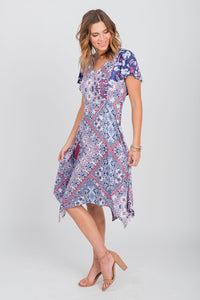 Americana Print Sharkbite Hem Dress Blue