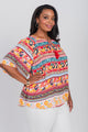 Plus Size Notch Neck Elbow Sleeve Peasant Top Coral