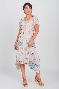 Border Print Sharkbite Hemline Dress Peach/Turq