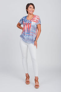 Americana Print Scoop Neck Tee Blue