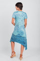 Border Print Sharkbite Hemline Dress Blue/White