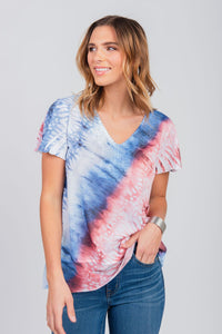 Americana Printed Tie-Dye Lace Trim Top Blue