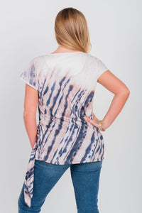 Plus Size Printed Side Tie Top Taupe