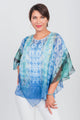 Point Front Poncho and Matching Tank Two-Piece Set Blue