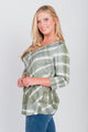 Plus Size Printed Tie-Dye Notch Neck Top Olive
