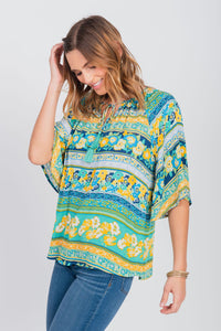 Notch Neck Elbow Sleeve Peasant Top Teal