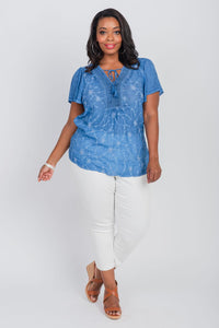 Plus Size Embroidered Oil Wash Crochet Neckline Top Bluebird