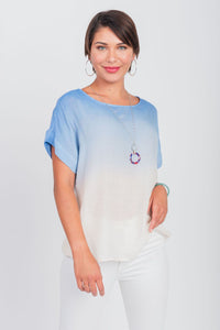 Dip-Dyed Top With Necklace Ocean