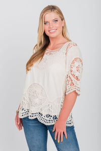Elbow Sleeve Crochet Top