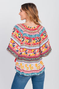 Notch Neck Elbow Sleeve Peasant Top Coral