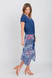 Handkerchief Hemline Print Midi Skirt Red/Wht/Blue