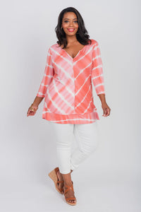 Plus Size Printed Tie-Dye Notch Neck Top Coral