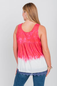 Plus Size Americana Printed Dip-Dye Sleeveless Top Red/White