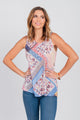Patchwork Floral Print Tank Top Neutral