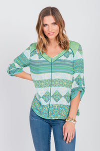Print Mix Roll Sleeve Shirt Margarita