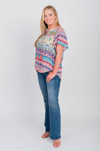 Plus Size Festival Print Flutter Sleeve Top Cayenne