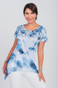 Floral Tie-Dye Print Scoop Neck Top Blue