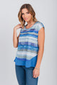 Watercolor Print Mixed-Media Top Blue
