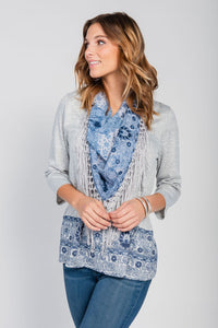 Border Print Top/Scarf Two-Piece Set Grey