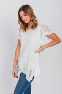 Flutter Sleeve Lace  Sharkbite Hemline Top White