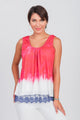Americana Printed Dip-Dye Sleeveless Top Red/White