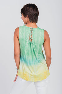 Lace Up Back Print Tank Yellow/Green