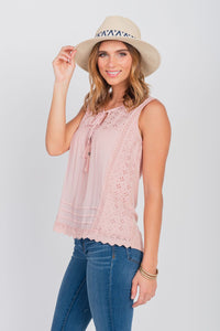 Mixed-Media Sleeveless Top Pink