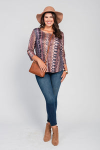 Plus Size High/Low Hemline Tee Brown-Meaningful