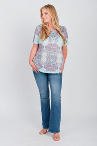 Plus Size Global Print Tee Mint
