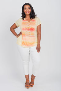 Plus Size Pineapple Watercolor Print Tee Yellow/Orange
