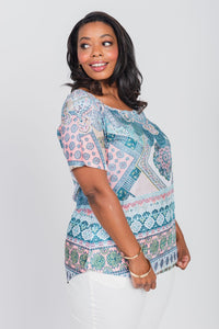 Plus Size Medallion Print Tee Teal